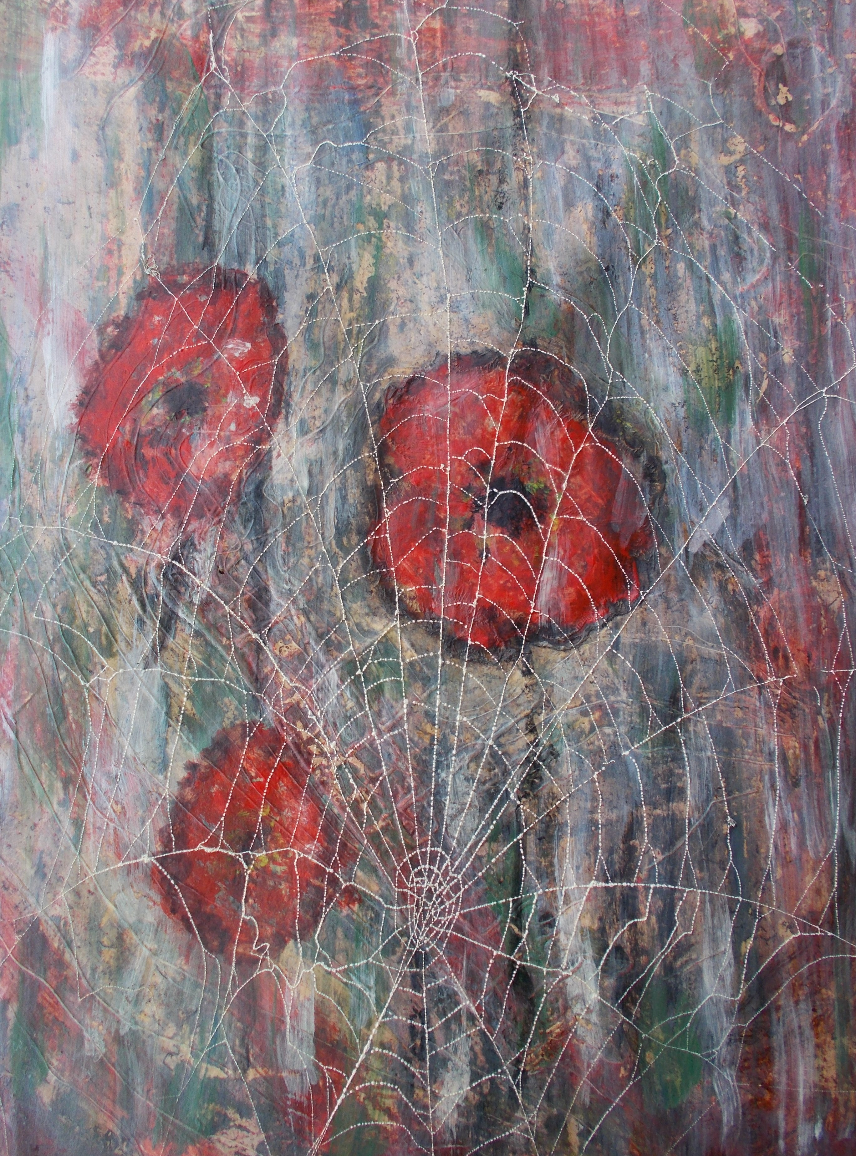 Sommer 40*50 Hintergrund gemalt, Blumen aus gekochten Rettich