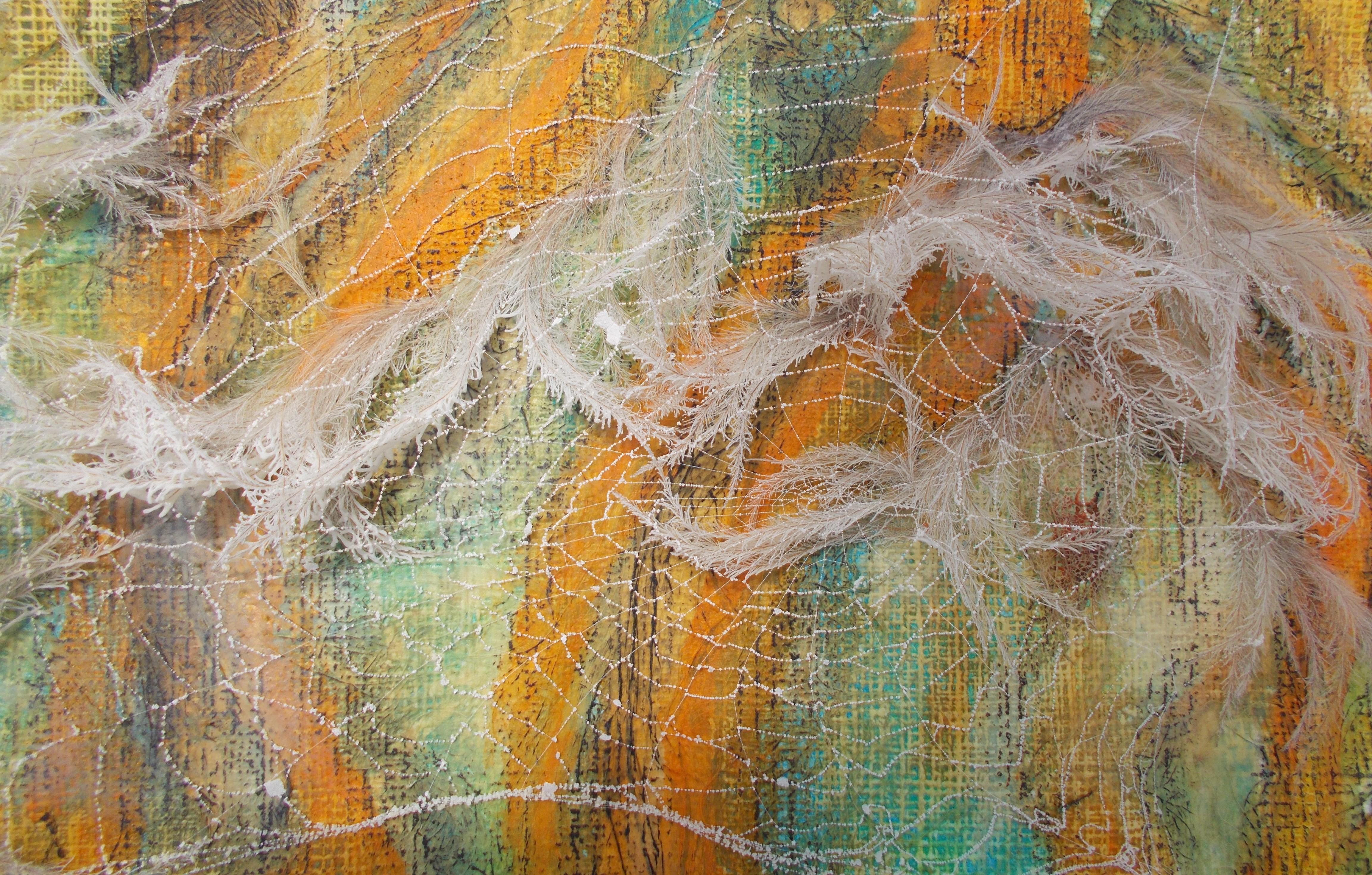 Porree coloriert,Clematisamen mit Netz 30*40