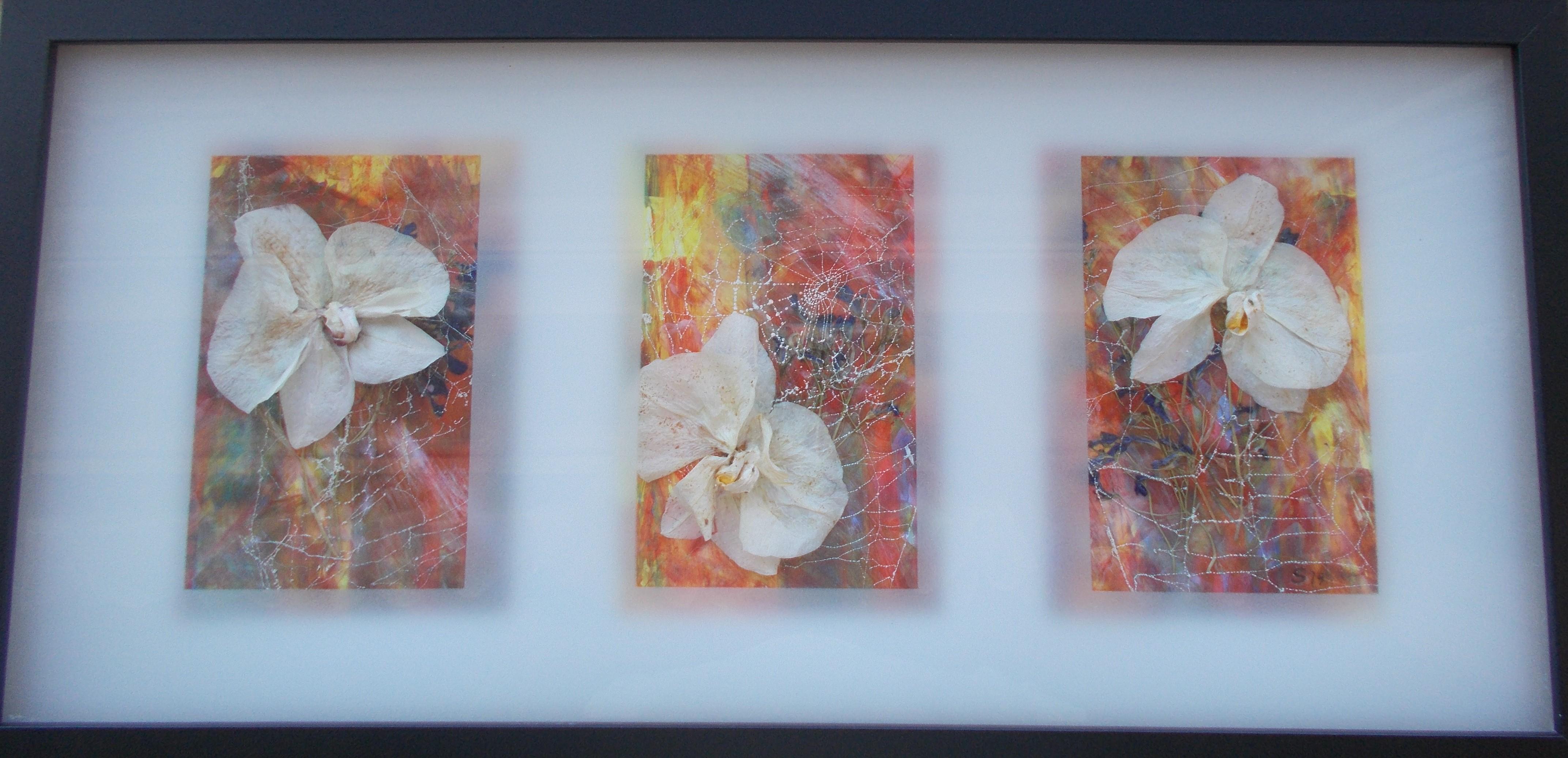 Orchideen auf gemaltem Hintergrund 20*60