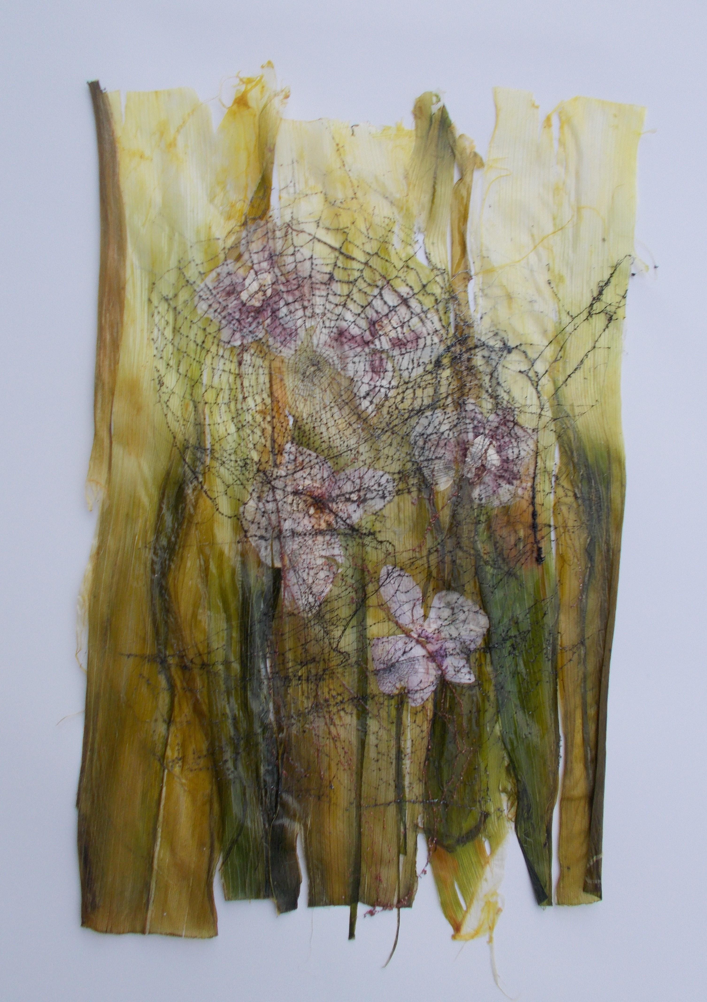 Faszination Spinnennetze, Hintergrund Porre und echte Orchideen 40*50